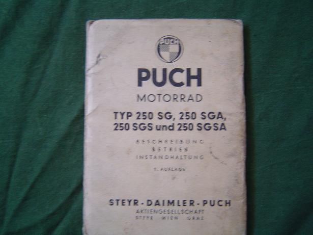 instructie boekje PUCH 250 SG SGA SGS SGSA 1956