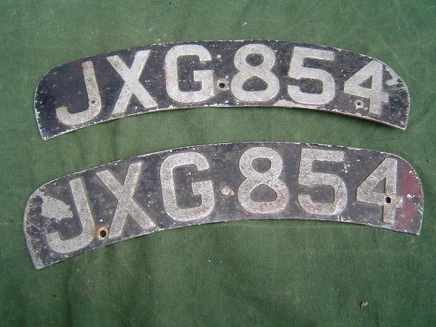 nummerborden engels motorfiets setje 1950's