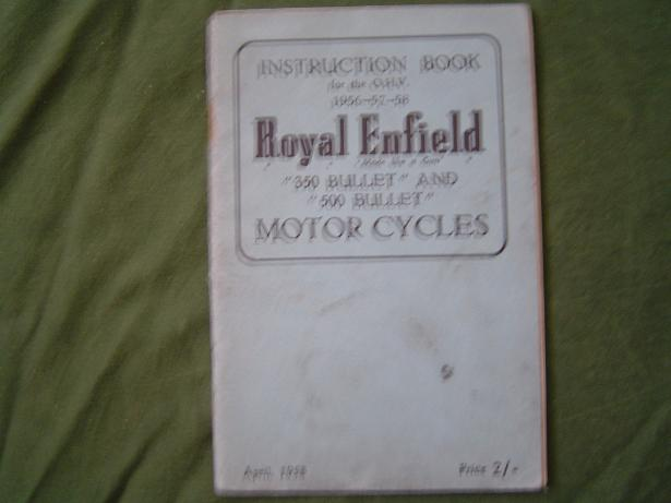 instruction book ROYAL ENFIELD 350 500 BULLET 1958