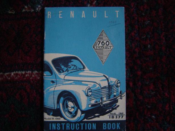 RENAULT 760 1949  instruction book model R 1060