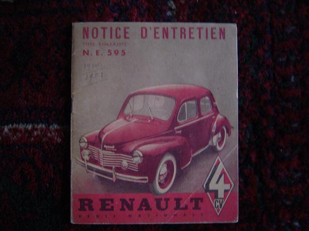 RENAULT 4 CV 1950 ? manual notice d'entretien moteur type 662