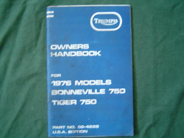 TRIUMPH owners handbook 1976 bonneville 750 en tiger 750