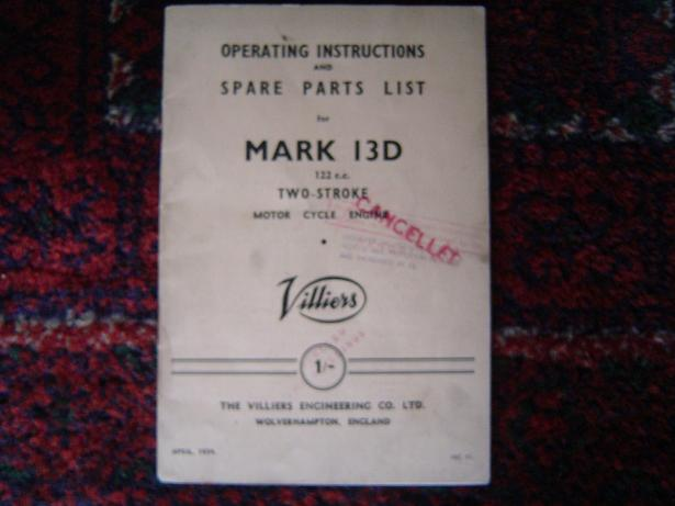 VILLIERS mark 13 D 1954 operating and spare partslist
