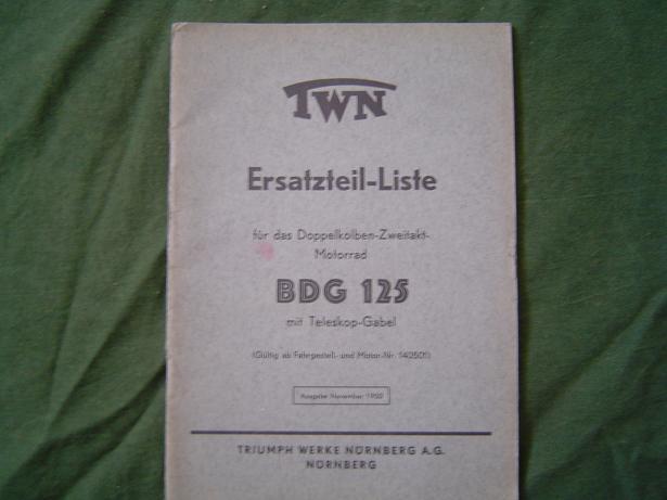 ersatzteil-liste TWN [triumph ] BDG 125 1950 teleskop gabel