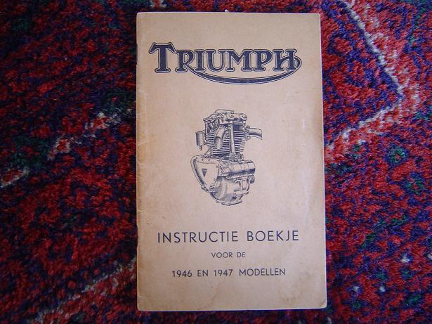 TRIUMPH instructie boekje 1946 en 1947 modellen 5T,T10, 3T,T85