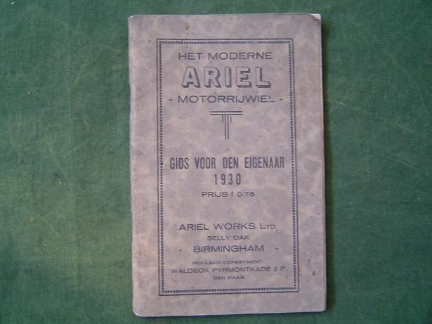 ARIEL motorrijwiel 1930 gids voor den eigenaar