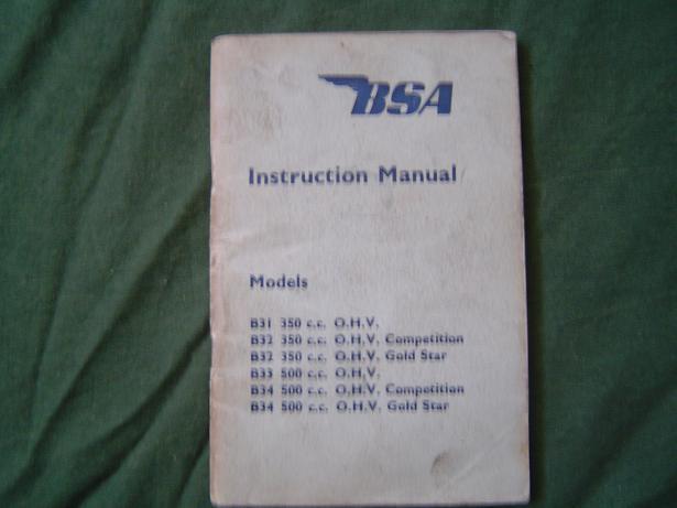 BSA instruction manual 1954  B31 B32 B33 B34 350 500 goldstar