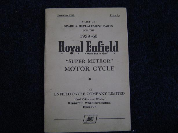 ROYAL ENFIELD 1959 – 1960 super meteor spare list