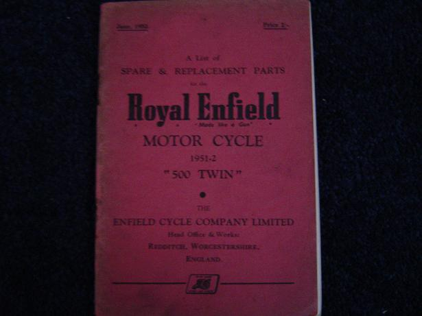 ROYAL ENFIELD 1951 – 1952  500 TWIN  spare list