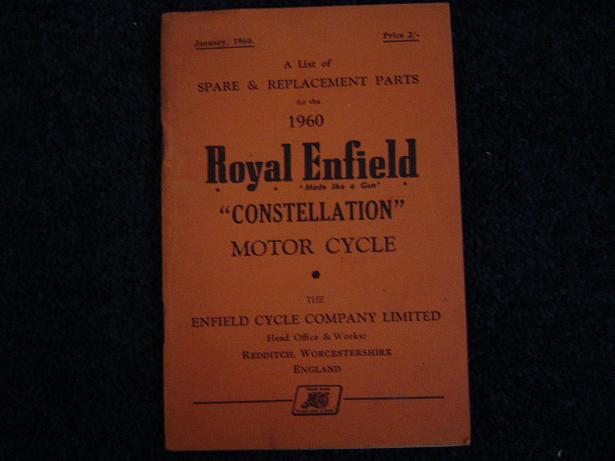 ROYAL ENFIELD 1960 CONSTELLATION spare list