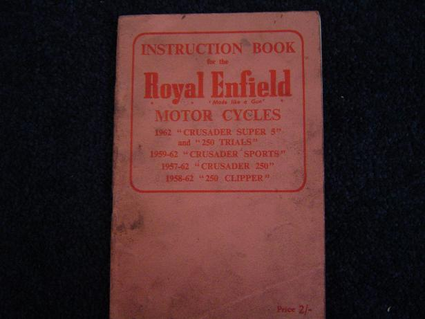 ROYAL ENFIELD CRUSADER instruction book CLIPPER TRIAL 58-62