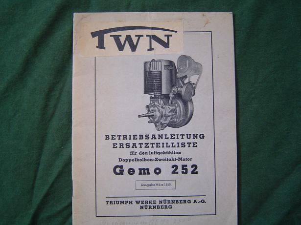 betriebsanleitung TWN GEMO 252 doppelkolben 1950 stationaire motor