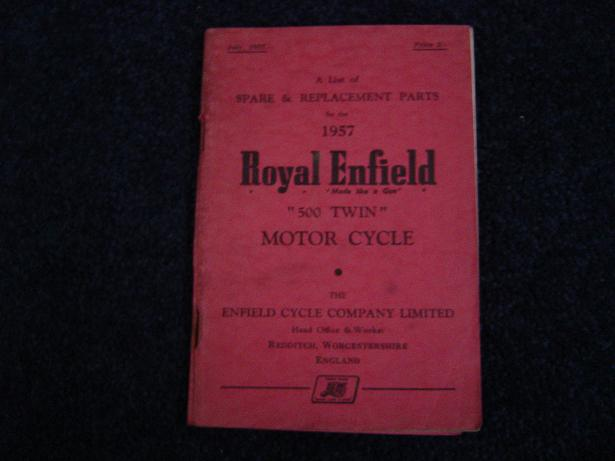 ROYAL ENFIELD 1957 500 twin spare list