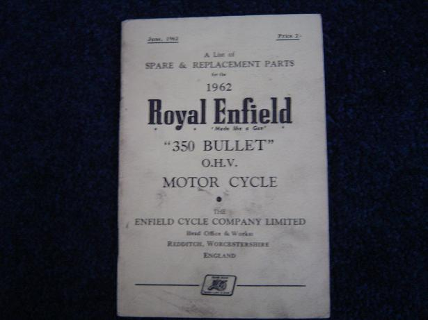 ROYAL ENFIELD 1962 350 cc BULLET spare list