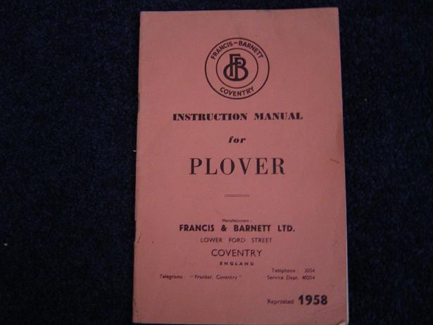 FRANCIS BARNETT PLOVER 1958 147 cc villiers insrtuction book