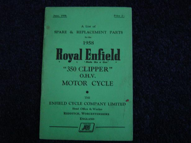 ROYAL ENFIELD 1958 350 cc CLIPPER spare list