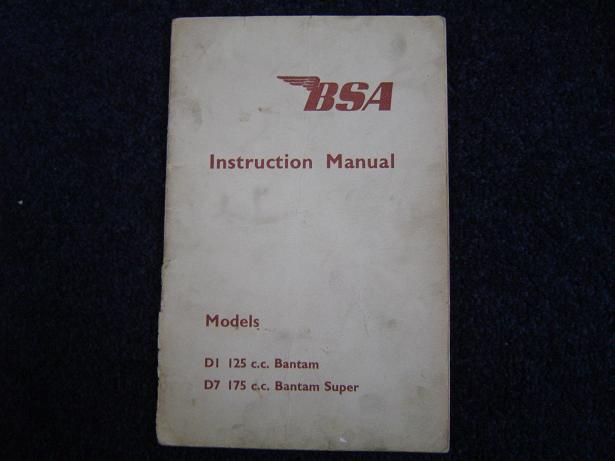BSA  D1 D7 BANTAM instruction manual 1959