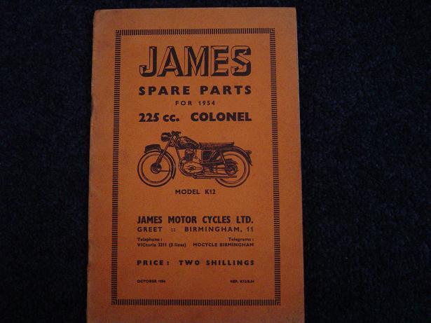 JAMES 225 cc COLONEL  K 12 1954 spare partslist