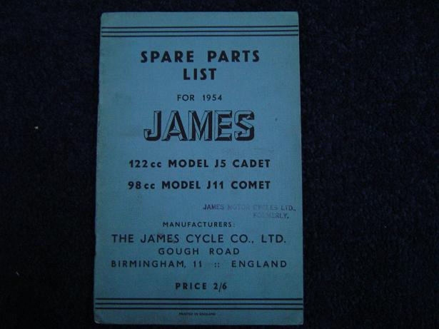 JAMES 122cc CADET 98cc COMET 1954 J5  J11 spare parts list