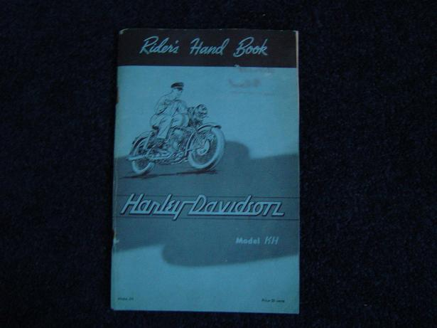 HARLEY DAVIDSON model KH riders hand book