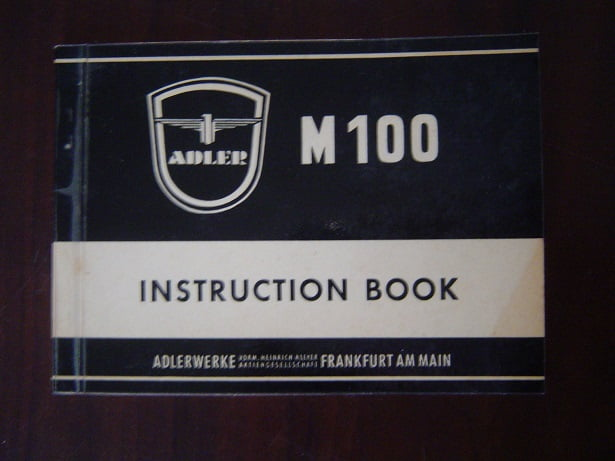 ADLER M100  instruction book  M 100