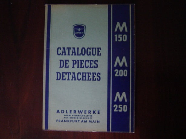ADLER M 150 , M 200,  M 250 1953 catalogue de pieces M150 M200 M250