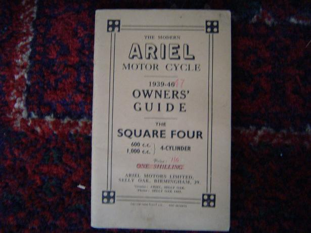 ARIEL  1939 /47 square four 600 1000 cc owners guide
