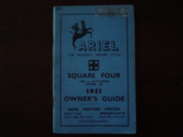 ARIEL 1951 square four 1000 cc model 4G owner's guide
