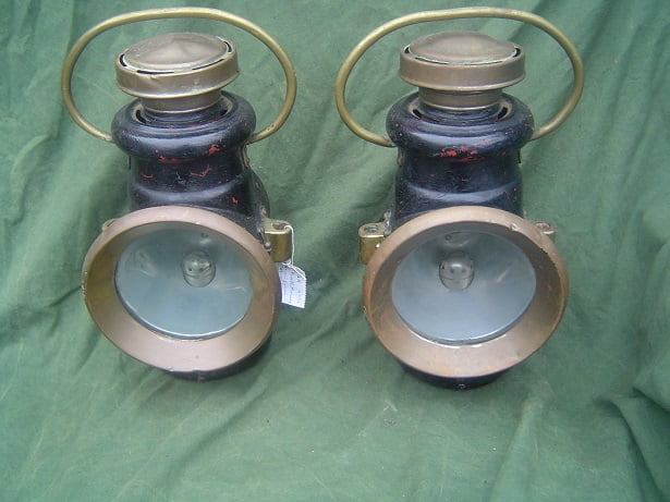 P & H car oil lamp set Powell & Hammer 1910 's  auto olie lampen