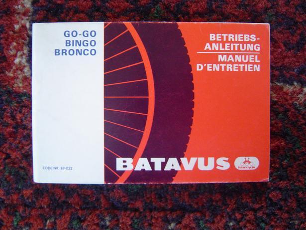 BATAVUS GO GO , BINGO ,  BRONCO betriebs anleitung