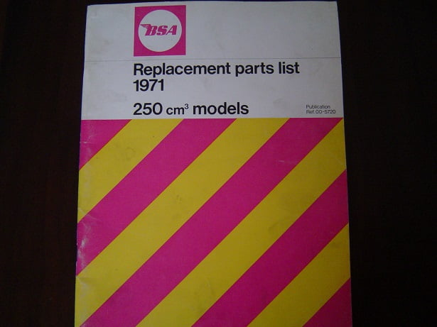BSA 250 cc 1971 parts list  B25SS B25T Gold Star Victor  B 25