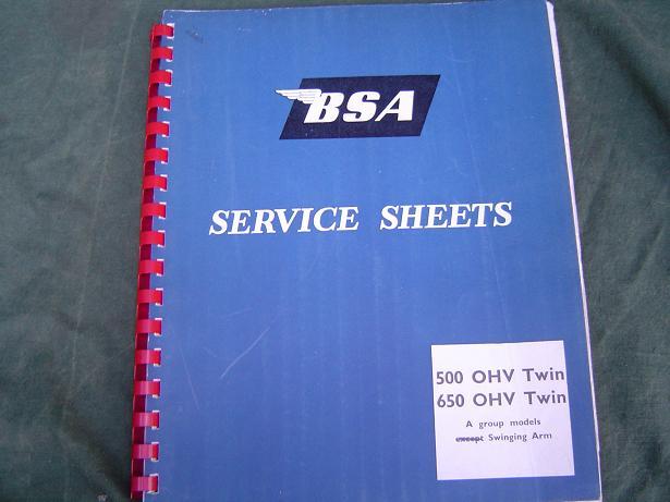 BSA 500 OHV en 600 OHV  twins service sheets oa. A 7 en A 10