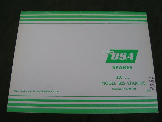 BSA B25 Starfire 250 cc 1968 spare parts list
