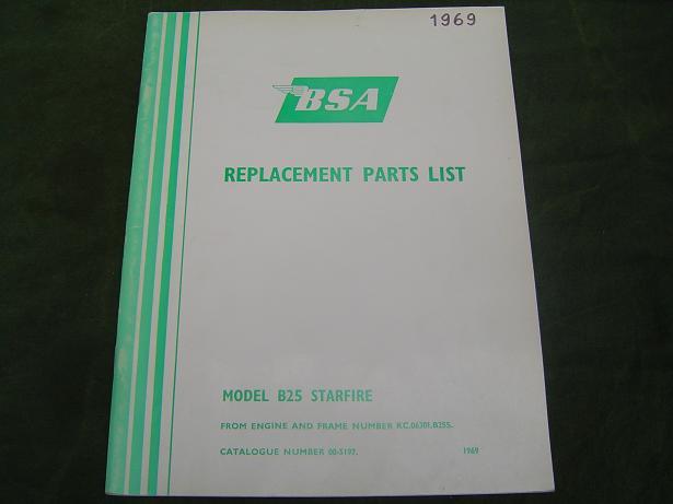BSA  B 25 Starfire B25 1969 parts list