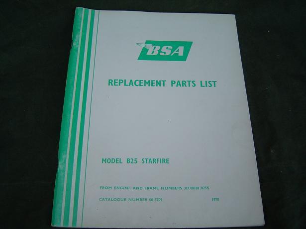 BSA B 25 Starfire 1970 parts list