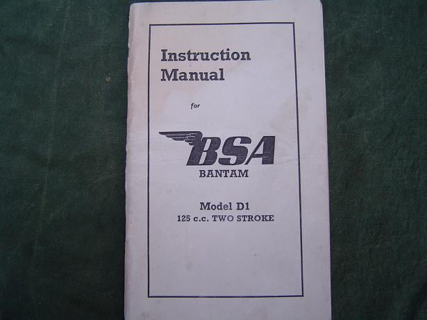 BSA Bantam 125 cc model D1  1950 instruction manual