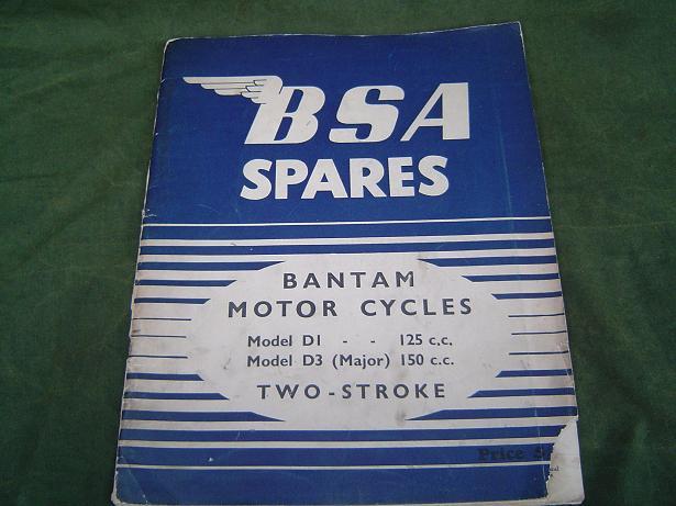 BSA BANTAM  model D1  125 cc en model D3 175 cc  1954 spares list