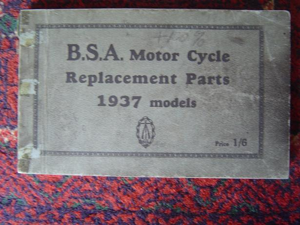 BSA motorcycle replacement parts 1937 models