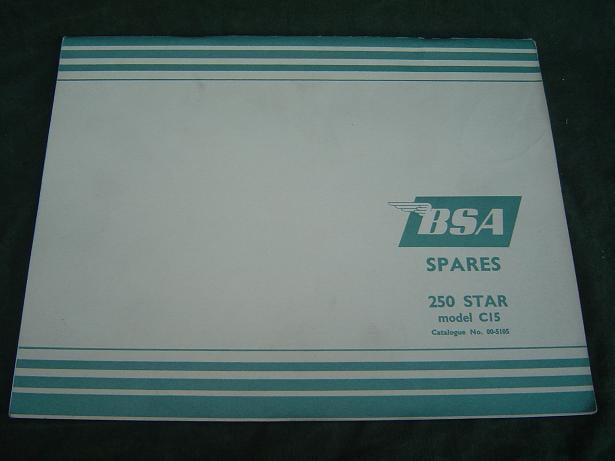 BSA , C 15 , 250 STAR ,  spare parts list catalogue no. 00-51505