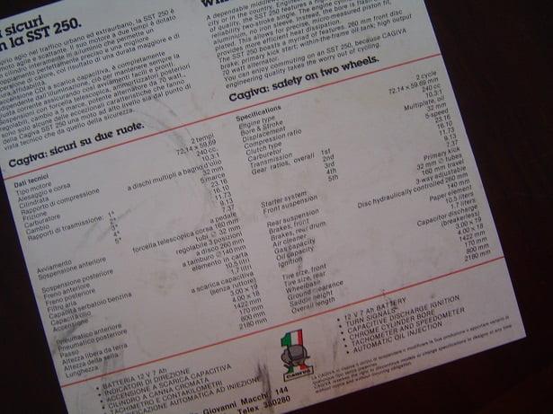 CAGIVA  SST250 SST 250 folder prospect sales leaflet
