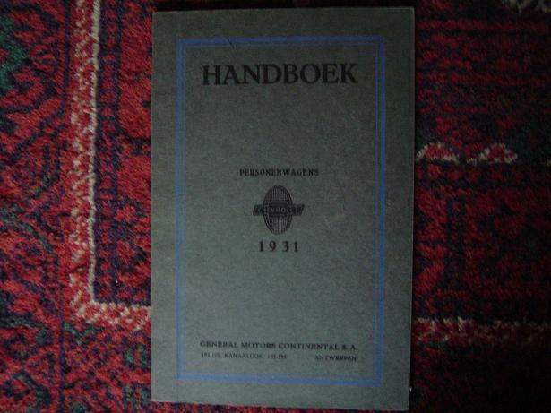CHEVROLET 1931 personenwagens handboek