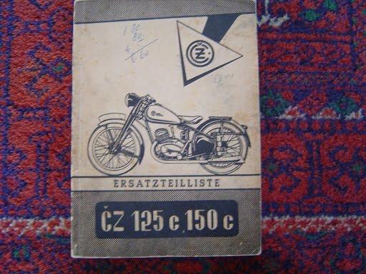 CZ 125 en 150 cc  1951 ersatzteilliste onderdelenboek