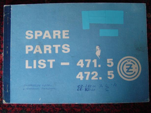 CZ 471 .5   472 .5  250 en 350 cc  spare parts list 1974 -1982