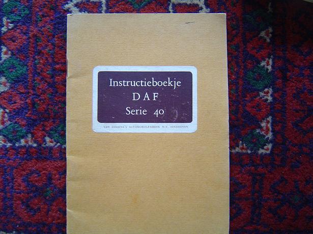 DAF serie 40 vrachtautochassis  instructie boekje  1952 ??? handleiding