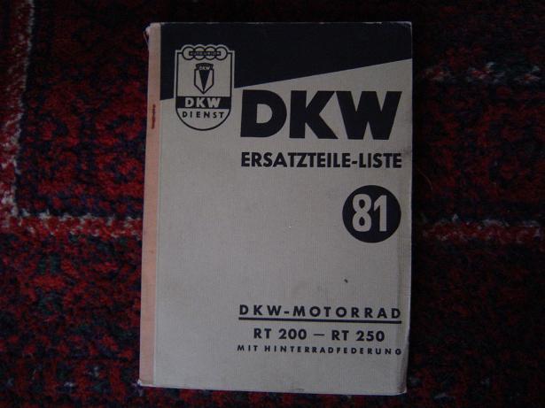 DKW  RT 200 RT 250 ersatzteile liste 81 1953
