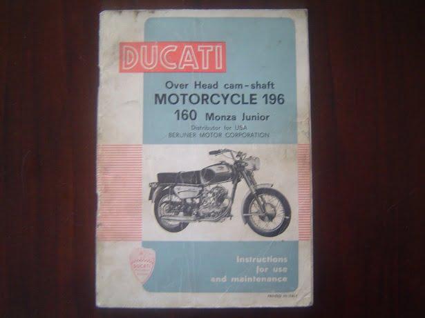 DUCATI 160 MONZA JUNIOR 1965 instruction maitenance manual