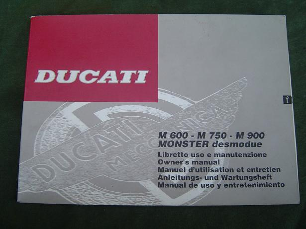 DUCATI  M 600  M 700  M 900 Monster   1992 owner's manual