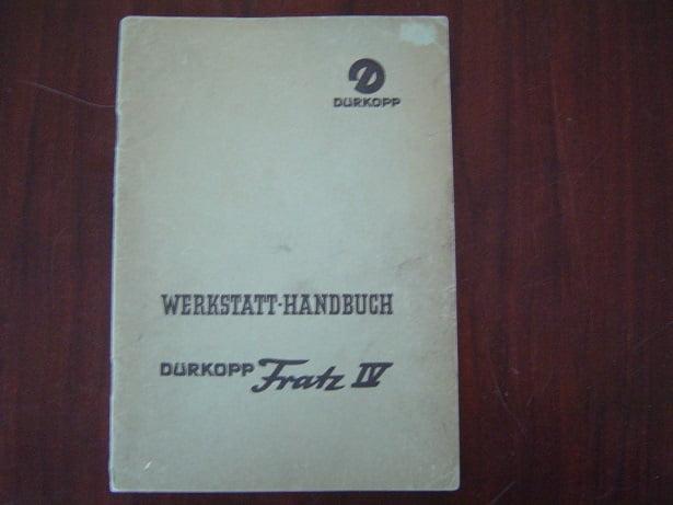 DÜRKOPP FRATZ IV  1957  werkstatt handbuch werkplaatsboekje