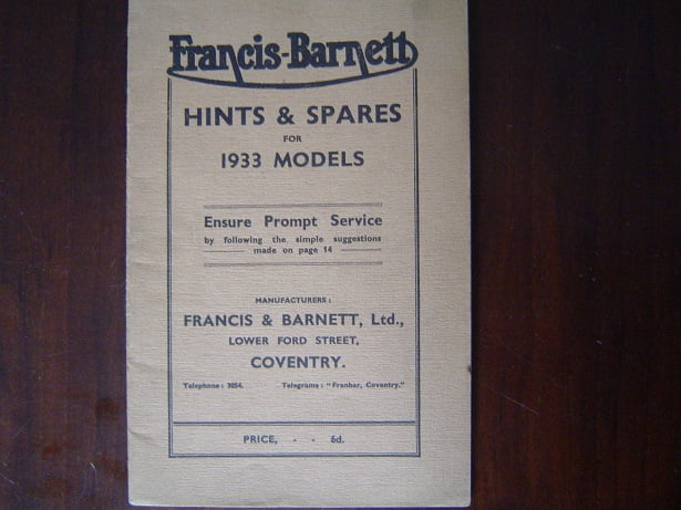 FRANCIS BARNETT 1933 models hints and spares oa. Falcon