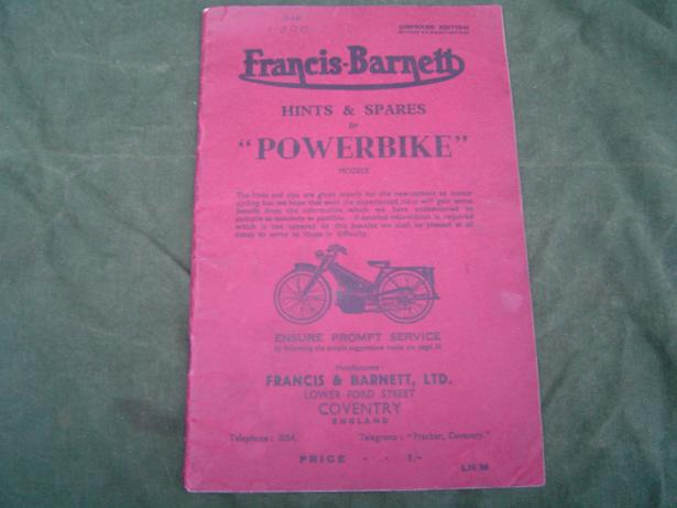FRANCIS BARNETT powerbike  models 1950's hints and spares